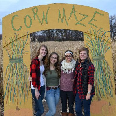 Students outside of corn maze
