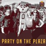 Three girls standing outside with Goldy the gopher!