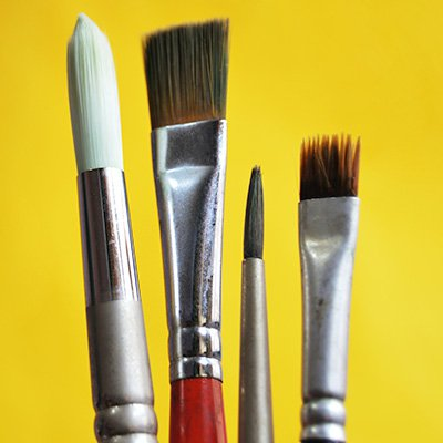 A group of 4 paintbrushes